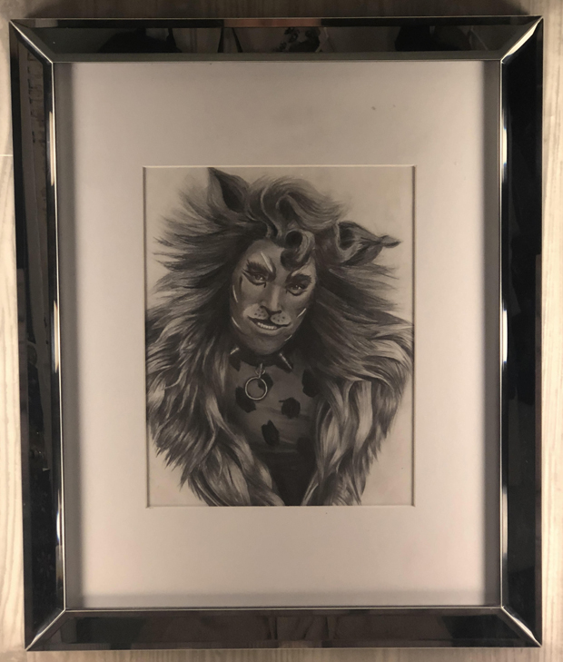 One of Hanes's favorite fan gifts — a drawing of Rum Tum Tugger by Bethany Knight of Hamilton, Alabama.