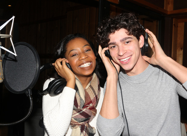 Hailey Kilgore and Isaac Powell in the recording studio.