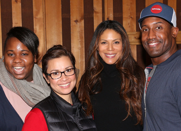 Alex Newell, Lea Salonga, Merle Dandridge, and Quentin Earl Darrington on a break from recording.