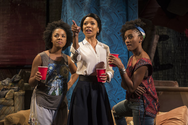 Nora Carroll, Leea Ayers and Celeste M. Cooper in Aziza Barnes's BLKS, directed by Nataki Garrett, at Steppenwolf Theatre.