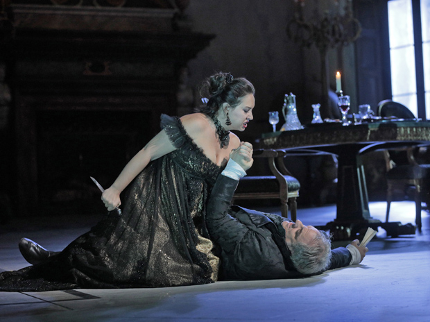 Sonya Yoncheva and Željko Lučić star in Giacomo Puccini's Tosca, directed by David McVicar, at the Metropolitan Opera.