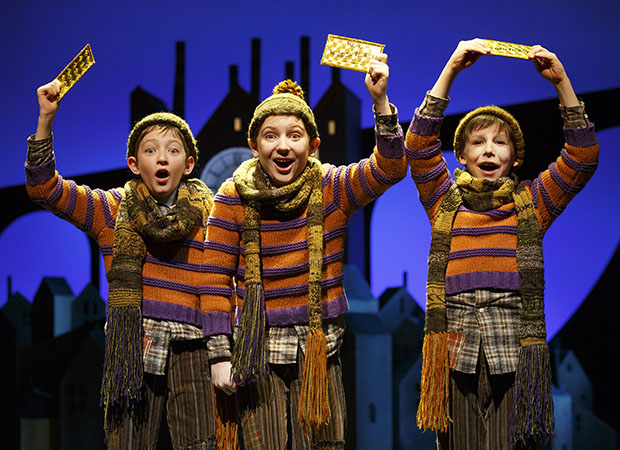 Ryan Foust, Ryan Sell, and Jake Ryan Flynn as Charlie in Charlie and the Chocolate Factory.