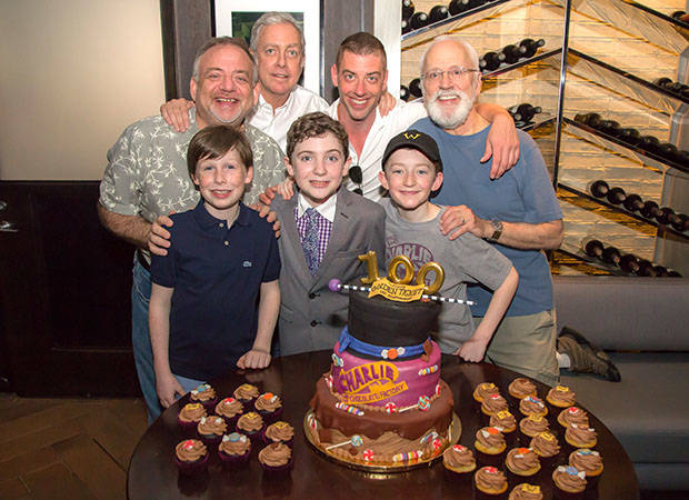 The three Charlies with songwriters Marc Shaiman and Scott Wittman, as well as costars Christian Borle and John Rubenstein.