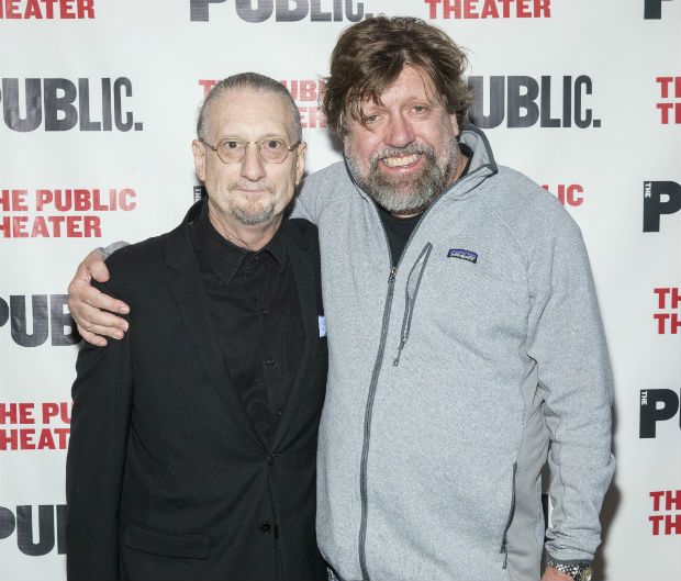 Under the Radar Festival director Mark Russell and Public Theater Artistic Director Oskar Eustic celebrate opening night of the festivals 14th year.