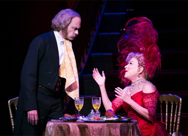 David Hyde Pierce and Bette Midler in Hello, Dolly! at the Shubert Theatre.