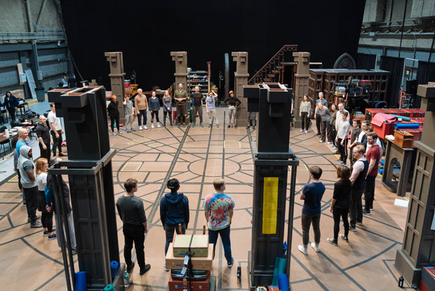 The company of Harry Potter and the Cursed Child circle up for the first day of rehearsals under the direction of John Tiffany.