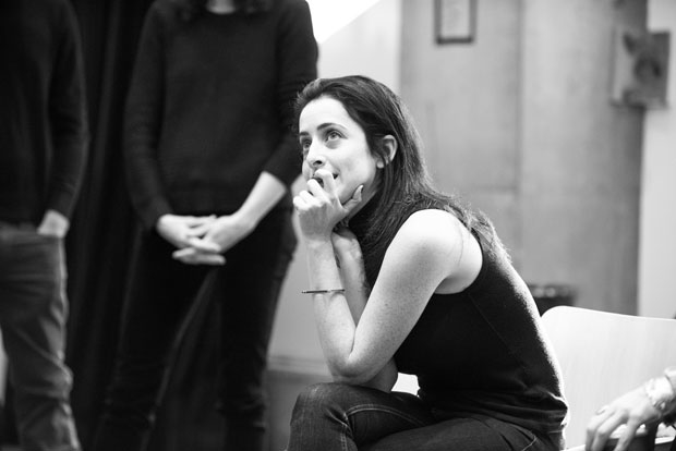 Director Lila Neugebauer listens intently during rehearsal for At Home at the Zoo.