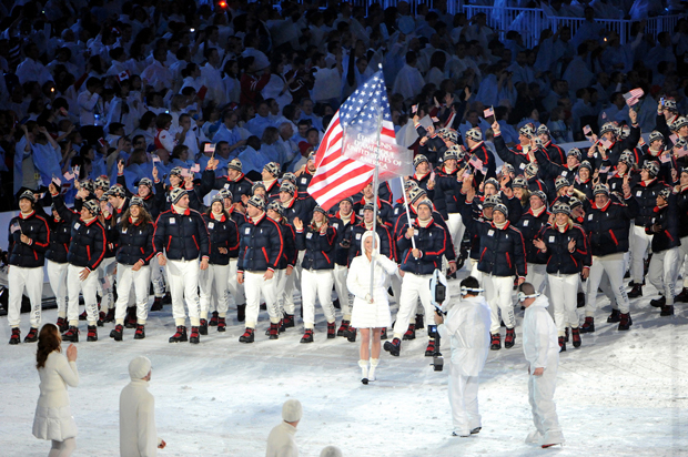Team USA marches in the opening ceremony of the 2010 Winter Olympics in Vancouver.
