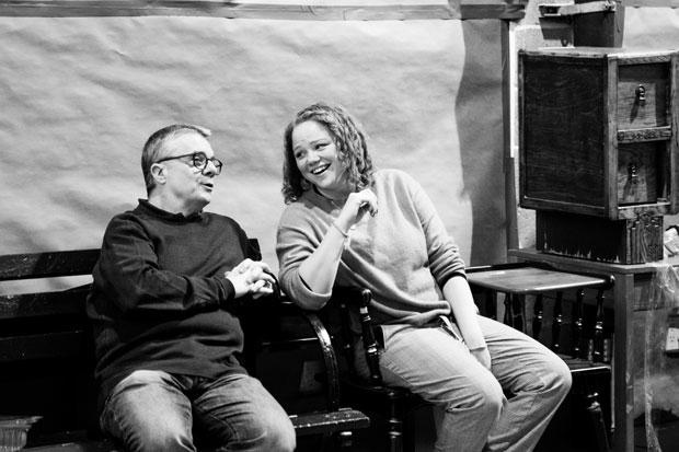 Nathan Lane and associate director Miranda Cromwell enjoy each others company during rehearsals for Angels in America.
