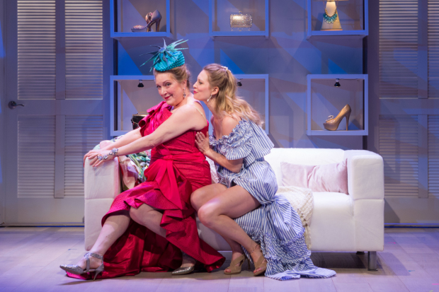 Kristine Nielsen as Aunt Rene with Eliza Huberth as Mae in The Way of the World, adapted and directed by Theresa Rebeck at the Folger Theatre.