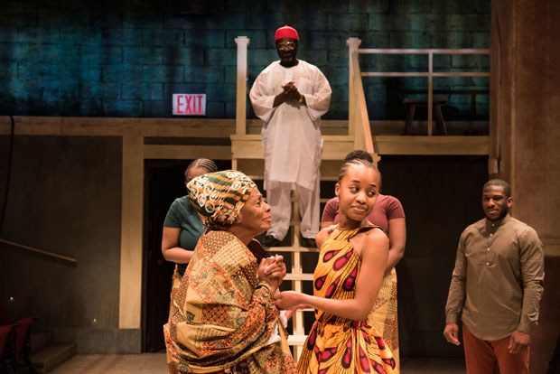 Vinie Burrows, Oberon K.A. Adjepong, Mirirai Sithole, and Segun Akande star in the world-premiere of The Homecoming Queen, directed by Awoye Timpo, at Atlantic Theater Company.