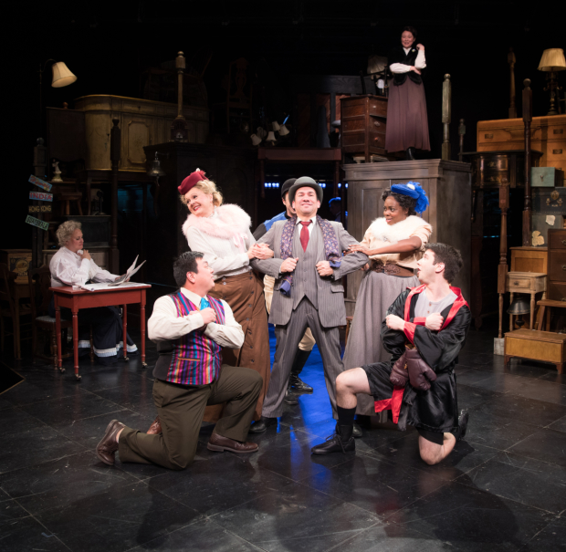 The cast of Road Show, directed by Spiro Veloudos and Ilyse Robbins, at the Lyric Stage Company.