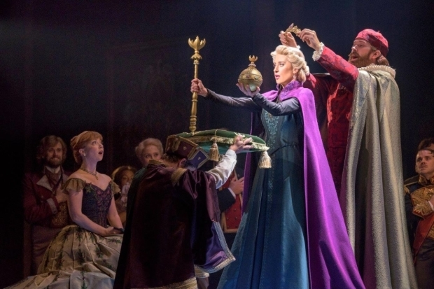 Patti Murin, Caissie Levy, and Jacob Smith star in Frozen on Broadway.