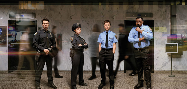 Chris Evans, Bel Powley, Michael Cera, and Brian Tyree Henry in an image from Lobby Hero.