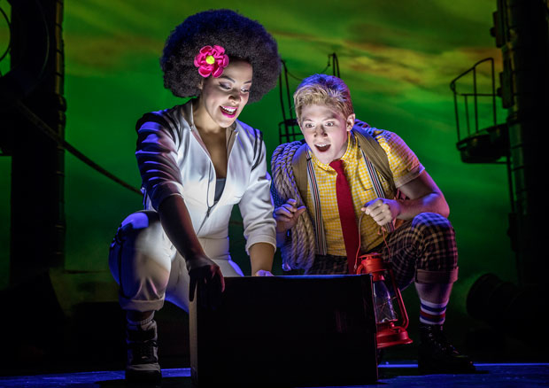 Lilli Cooper and Ethan Slater in SpongeBob SquarePants at the Palace Theatre.