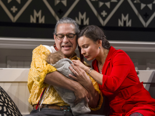 Andrew Roa (Major Ridge/Roger Ridge) and Kyla García (Sarah Polson) in Sovereignty, directed by Molly Smith, at Arena Stage.