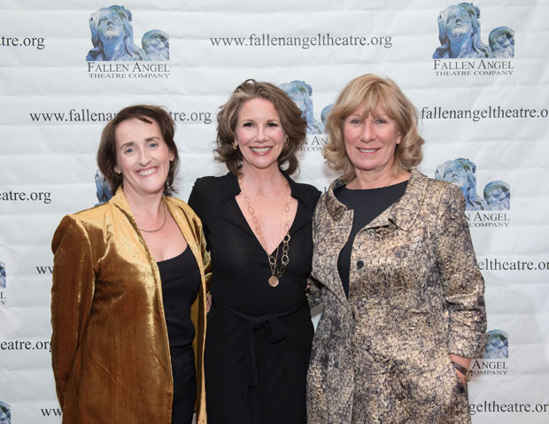 Geraldine Aron (right) was honored by Fallen Angel Theatre Company who is producing her play, My Brilliant Divorce, directed by Aedin Maloney (left) and starring Melissa Gilbert (center).
