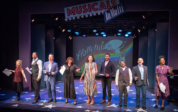 The cast of Hallelujah, Baby!: Jennifer Cody, Bernard Dotson, Tally Sessions, Vivian Reed, Stephanie Umoh, Jarran Muse, Randy Donaldson, Michael Thomas Holmes, and Latoya Edwards.