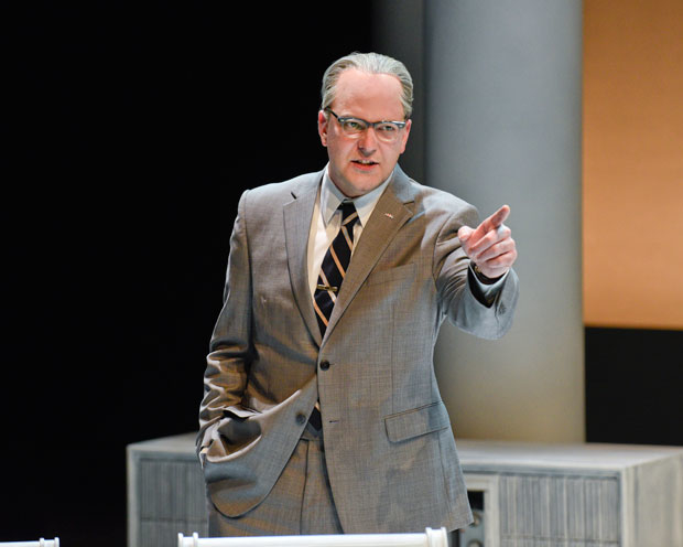 Brandon Potter, seen here in Alley Theatre's production of Robert Schenkkan's All the Way, returns to the role of President Lyndon Baines Johnson in The Great Society.