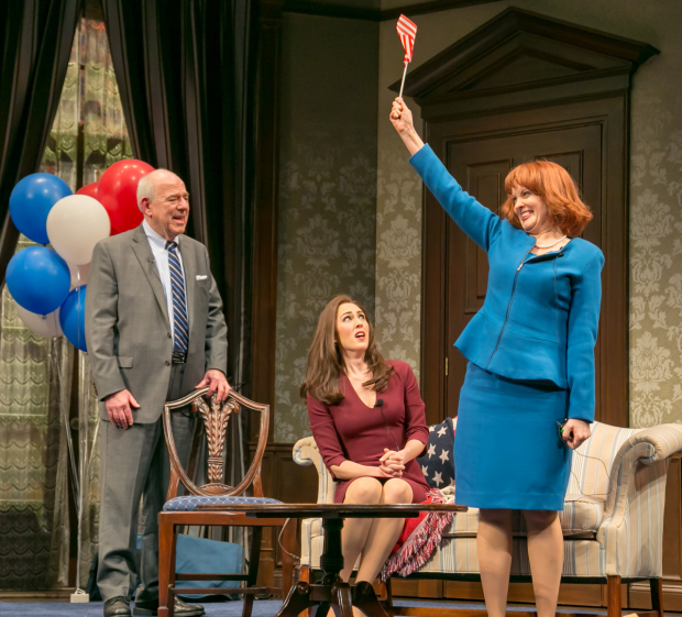 Lenny Wolpe (Ned Newley), Kelley Curran (Rachel Parsons), and Erin Noel Grennan (Louise Peakes) in The Outsider, directed by David Esbjornson, at Paper Mill Playhouse.
