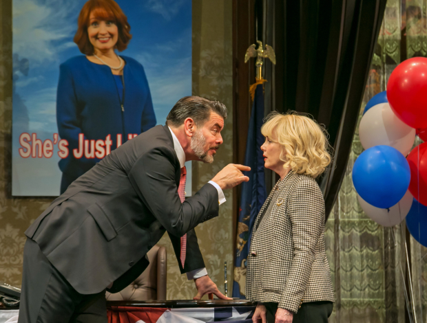 Burke Moses and Julia Duffy as political strategists Arthur Vance and Paige Caldwell in a scene from The Outsider.