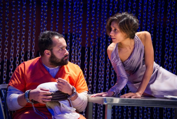 Ahmad Kamal (Malik) and Lynette Rathnam (Woman) in the world premiere of 4,380 Nights, directed by Kathleen Akerley, at Signature Theatre.