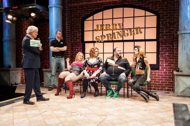 Terrence Mann, Billy Hepfinger, Beth Kirkpatrick, Florrie Bagel, Luke Grooms, and Sean Patrick Doyle in a scene from Jerry Springer - The Opera, directed by John Rando, at Pershing Square Signature Center.