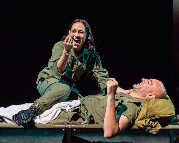 Caro Zeller and Jason Manuel Olazábal star in the Center Theatre Group production Quiara Alegría Hudes's Elliot, a Soldier's Fugue, which recently announced a Spanish-language open-captioned performance on February 25.