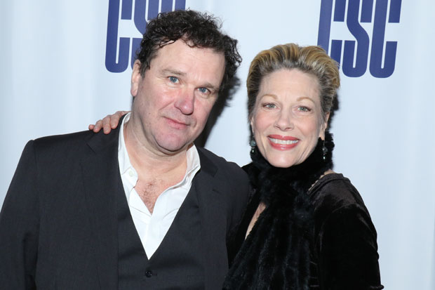 Douglas Hodge and Marin Mazzie celebrate opening night of Fire and Air at Classic Stage Company.