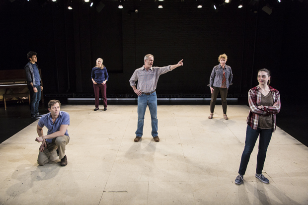 David Spadora, Ken Barnett, Joyce Cohen, John Carlin, Amy Gaither Hayes, and Gareth Tidball appear in Life Jacket Theatre Company's America Is Hard to See at HERE.