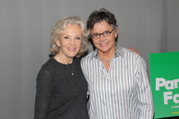Hayley Mills (left) stars in Isobel Mahon's comedy Party Face, directed by Amanda Bearse (right), running through April 8 at New York City Center — Stage II.