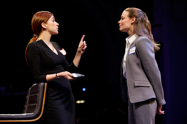Aya Cash and Gillian Jacobs star in Kings, directed by Thomas Kail, at the Public Theater.