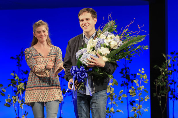 Laura Dreyfuss applauds Taylor Trensch after he officially takes over the title role in Broadway's Dear Evan Hansen.
