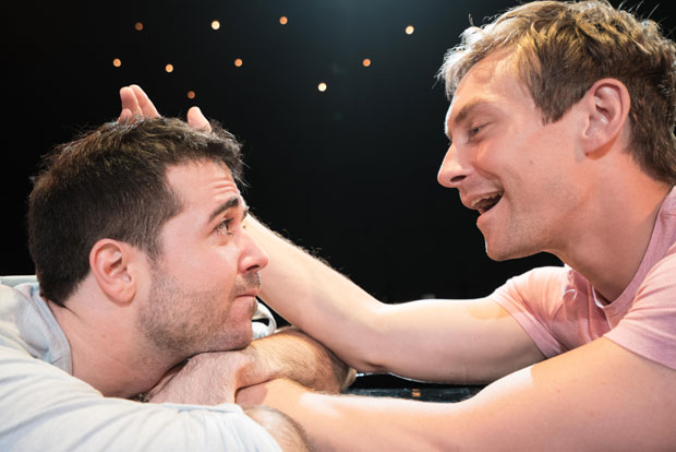 Joe Chisolm and Brandon Haagenson in a scene from Afterglow, one of the inaugural Off Broadway Touring productions.