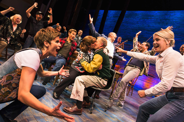 Sharon Wheatley and Lee MacDougall (center) as Diane and Nick in Broadway's Come From Away.