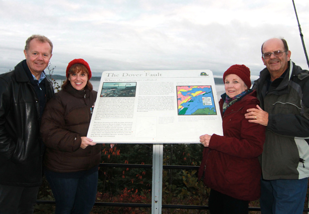 Lee MacDougall, Sharon Wheatley, Diane Marson, and Nick Marson pose at the Dover Fault.