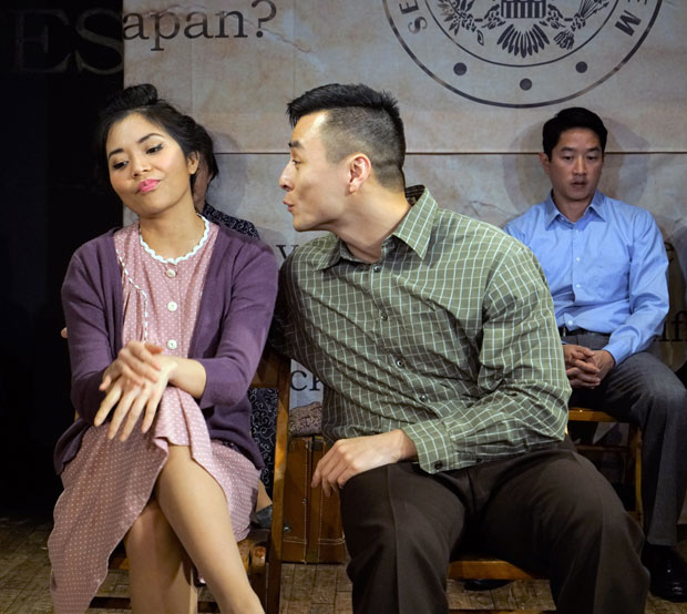 Leanne Cabrera and David Huynh share a scene in No-No Boy.