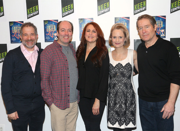 Director Jonathan Silverstein grabs a photo with the cast of Later Life: Jodie Markell, Liam Craig, Barbara Garrick, and Laurence Lau.