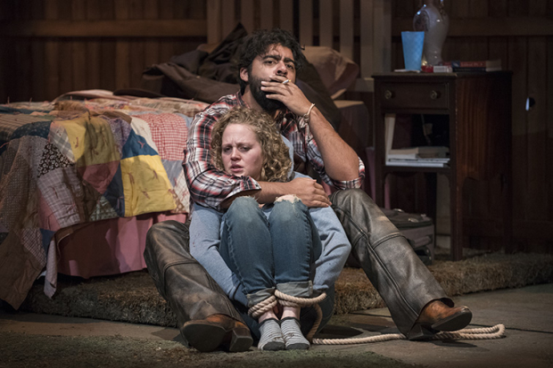Caroline Neff (Mae) and Gabriel Ruiz (Luke) in Clare Barron's You Got Older, directed by Jonathan Berry, at Steppenwolf Theatre.
