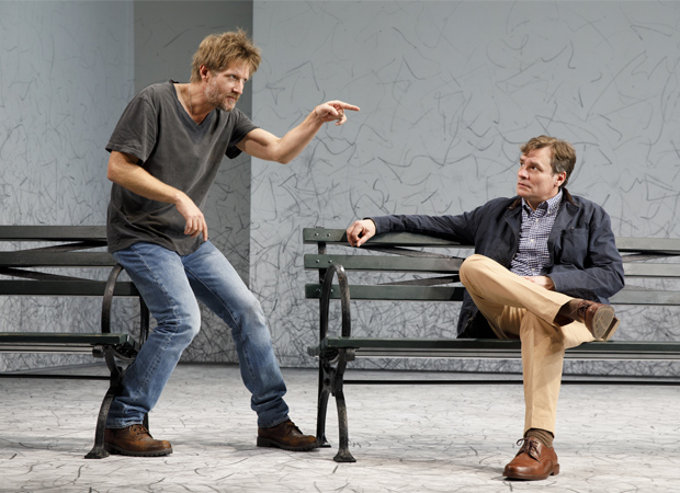 Paul Sparks as Jerry and Robert Sean Leonard as Peter in Edward Albee's At Home at the Zoo.