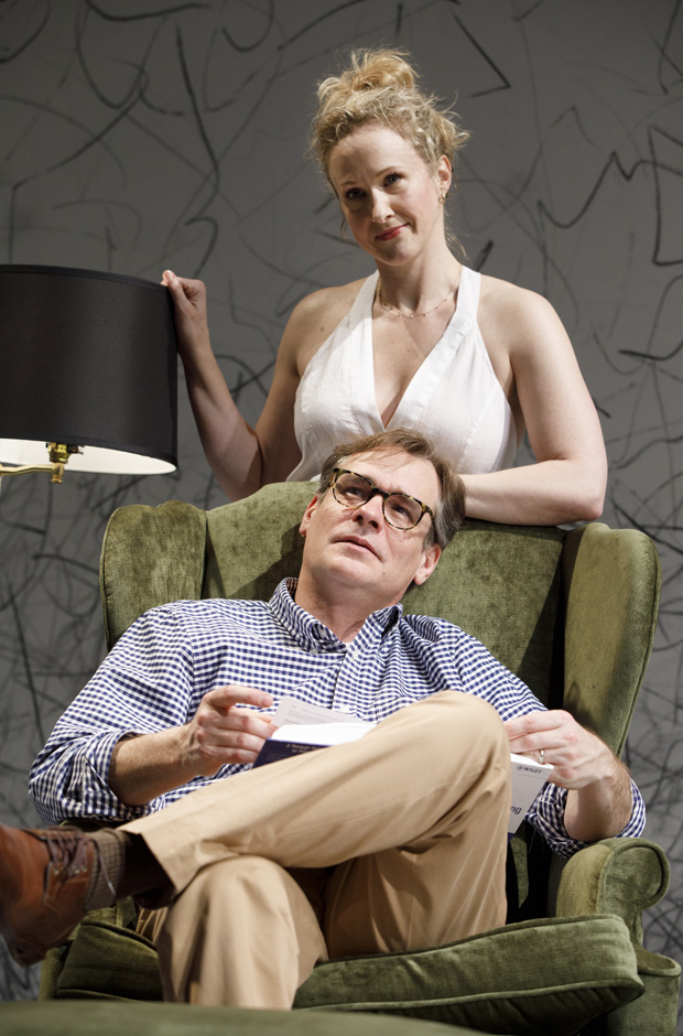 Katie Finneran as Ann and Robert Sean Leonard as Peter in Edward Albee's At Home at the Zoo.