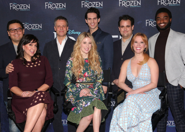 The Frozen team: songwriters Robert Lopez and Kristen Anderson-Lopez, director Michael Grandage, and stars Caissie Levy, John Riddle, Greg Hildreth, Patti Murin, and Jelani Alladin.