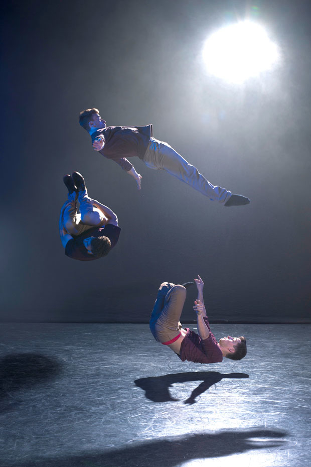 The Barely Methodical Troupe demonstrate their high-flying stunts.