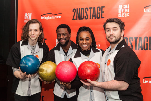Mike Faist, Michael Luwoye, Kristolyn Lloyd, and Alex Brightman bowled for Second Stage Theatre's annual fundraiser.