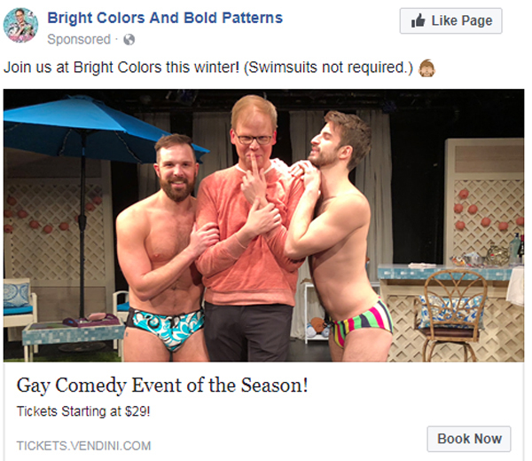 A Facebook ad for Bright Colors and Bold Patterns, one of ABM's off-Broadway clients.