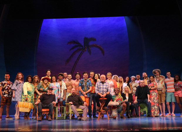 The cast and creative team of Escape to Margaritaville at the Marquis Theatre.