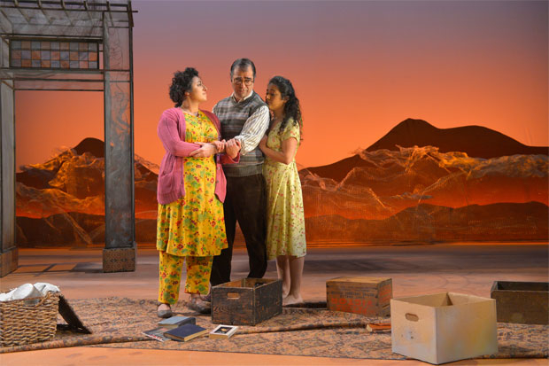 Denmo Ibrahim, Barzin Akhavan, and Nadine Malouf in the original 2017 production of A Thousand Splendid Suns, returning to A.C.T. this July.