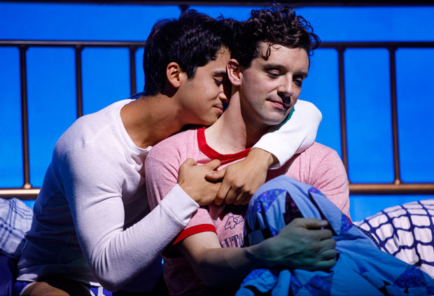 Michael Urie, right, with Michael Rosen, in the off-Broadway run of Harvey Fierstein's Torch Song. Urie will return for the upcoming limited Broadway engagement.