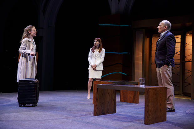 Gillian Jacobs, Aya Cash, and Zach Grenier star in Sarah Burgess's Kings, directed by Thomas Kail, at the Public Theater.