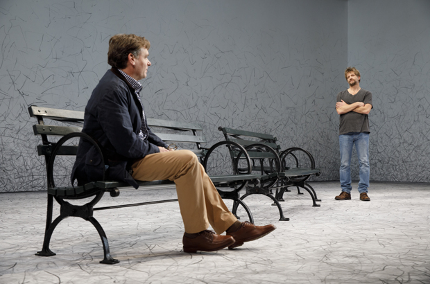 Peter (Robert Sean Leonard) looks apprehensively at Jerry (Paul Sparks) in At Home at the Zoo.
